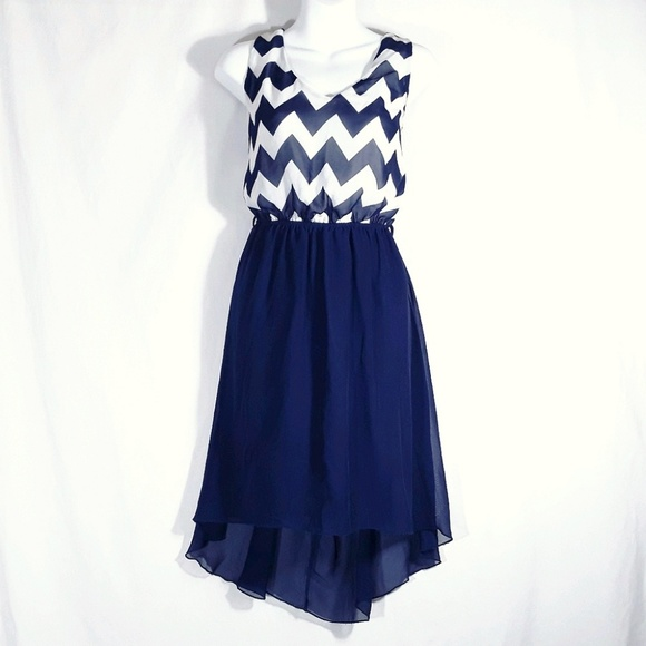 Rue21 Dresses & Skirts - Rue 21 Blue Chevron High Low Dress